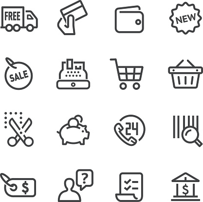 Shopping and Buying Icons Set - Line Series - gettyimageskorea