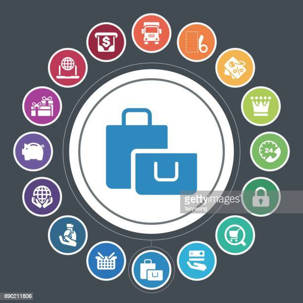 Winkelen en het kopen van pictogrammen
