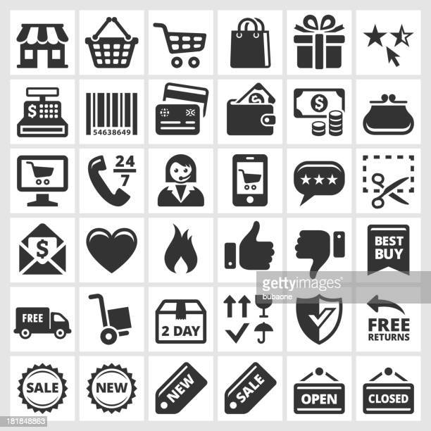 Shopping and Commerce black & white vector icon set