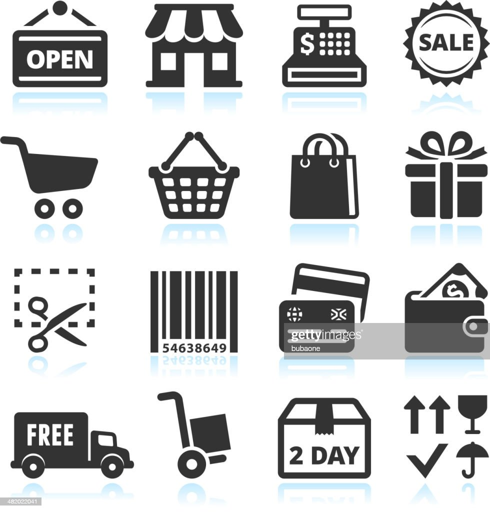 Shopping and Commerce black & white vector icon set : stock illustration