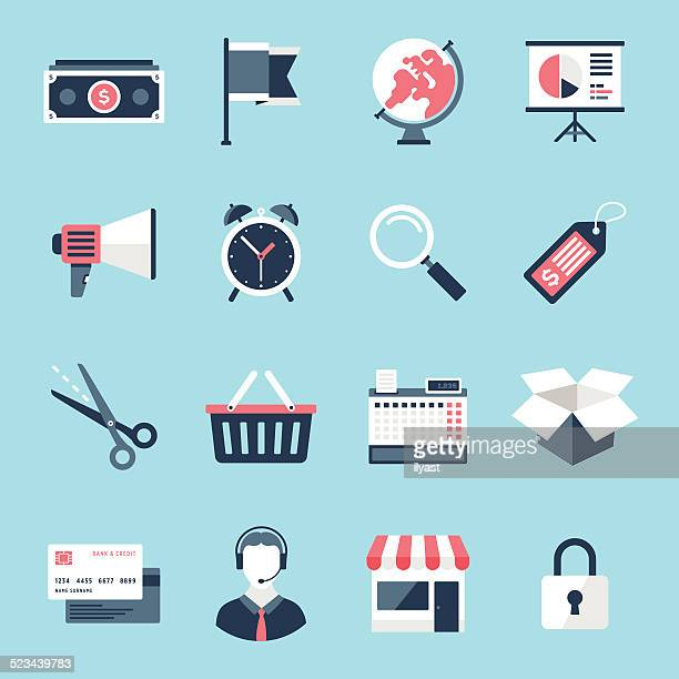 shopping and commerce icons - boutique stock illustrations, clip art, cartoons, & icons