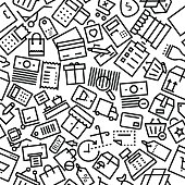 Shopping and Commerce Outline Hand Drawn Icon Pattern