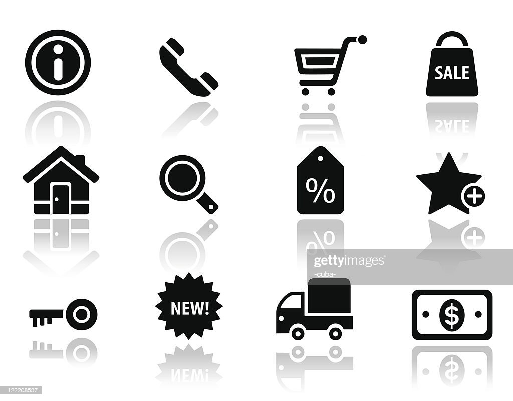 Shopping and commercial black icons