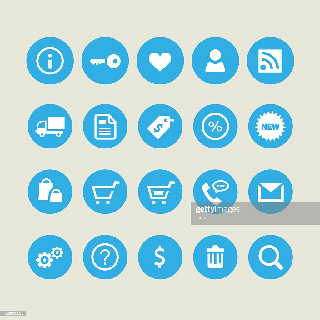 Shopping and commercial light icons