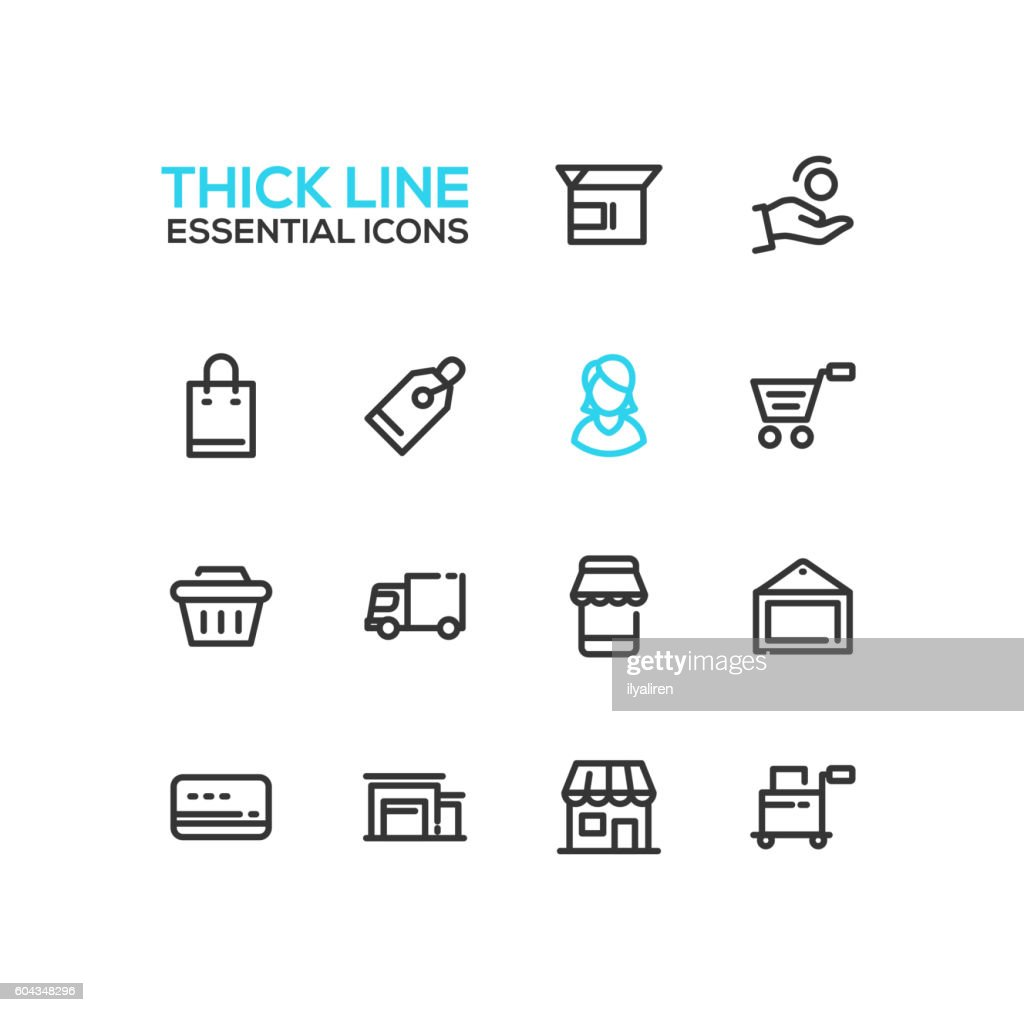 Shopping and Delivery Symbols - thick line design icons set