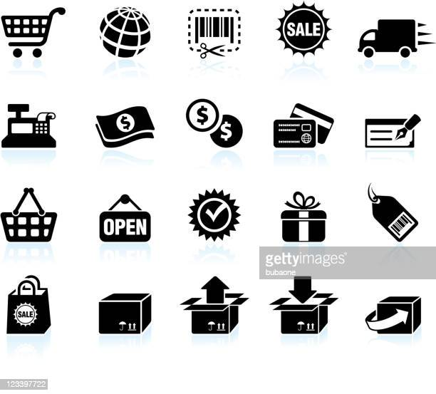Shopping and e-commerce black & white vector icon set