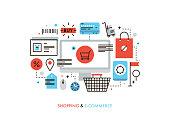 Shopping and e-commerce flat line illustration