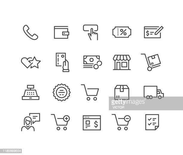 ilustraciones, imágenes clip art, dibujos animados e iconos de stock de iconos de compras y comercio electrónico - classic line series - símbolo conceptual