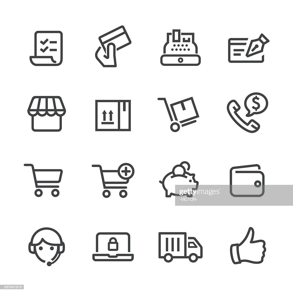 Shopping and E-commerce Icons - Line Series : stock illustration