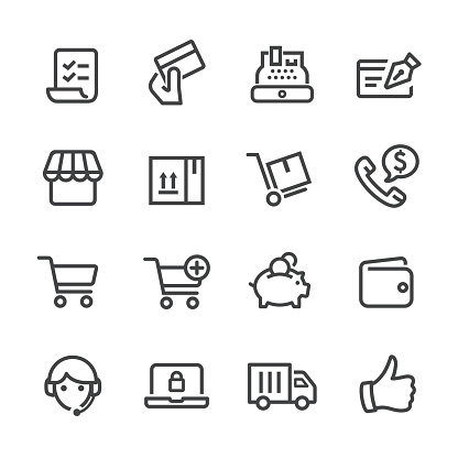 Shopping and E-commerce Icons - Line Series - gettyimageskorea