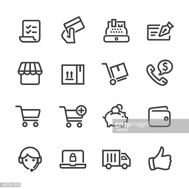 shopping and e-commerce icons - line series - shopping cart stock illustrations