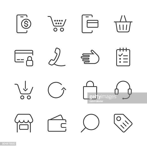 ilustrações, clipart, desenhos animados e ícones de conjunto de ícones de lojas e comércio electrónico 1/black linha series - e commerce