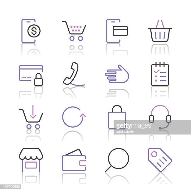Shopping and E-Commerce Icons set 1   Purple Line series