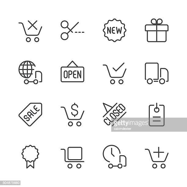 shopping and e-commerce icons set 2 | black line series - closed sign stock illustrations, clip art, cartoons, & icons