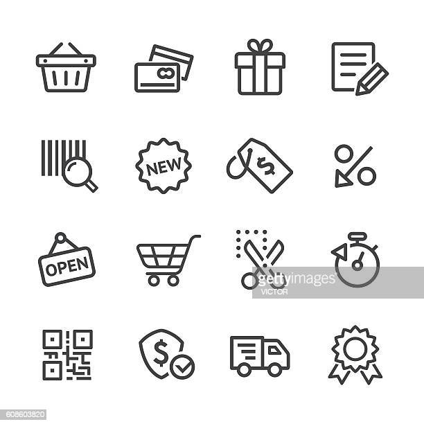 shopping and e-commerce icons set - line series - commercial land vehicle stock illustrations