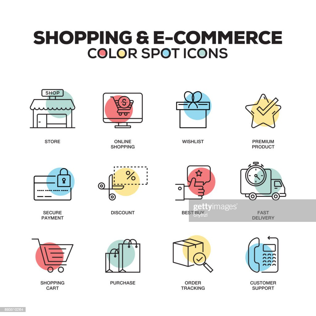 Shopping and E-Commerce icons. Vector line icons set. Premium quality. Modern outline symbols and pictograms. : stock illustration