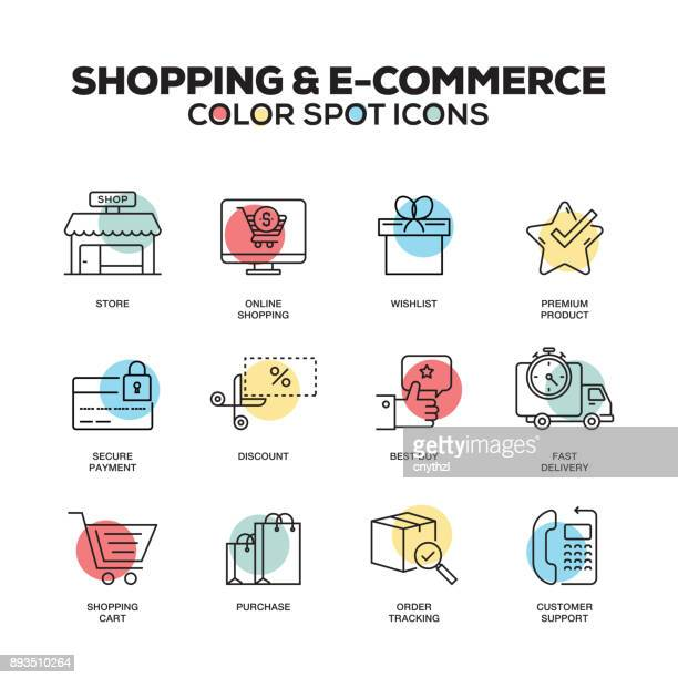 Shopping and E-Commerce icons. Vector line icons set. Premium quality. Modern outline symbols and pictograms.