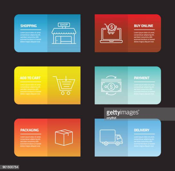 shopping and e-commerce infographic design template - finance and economy stock illustrations, clip art, cartoons, & icons