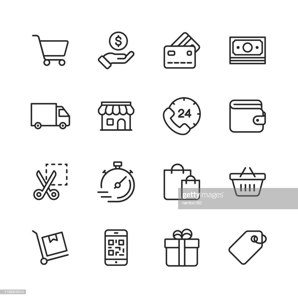 Icone della linea di shopping ed e-commerce. Tratto modificabile. Pixel Perfetto. Per dispositivi mobili e Web. Contiene icone come carta di credito, e-commerce, pagamenti online, spedizione, sconto. : Illustrazione stock
