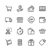 Shopping and E-commerce Line Icons. Editable Stroke. Pixel Perfect. For Mobile and Web. Contains such icons as Credit Card, E-commerce, Online Payments, Shipping, Discount.