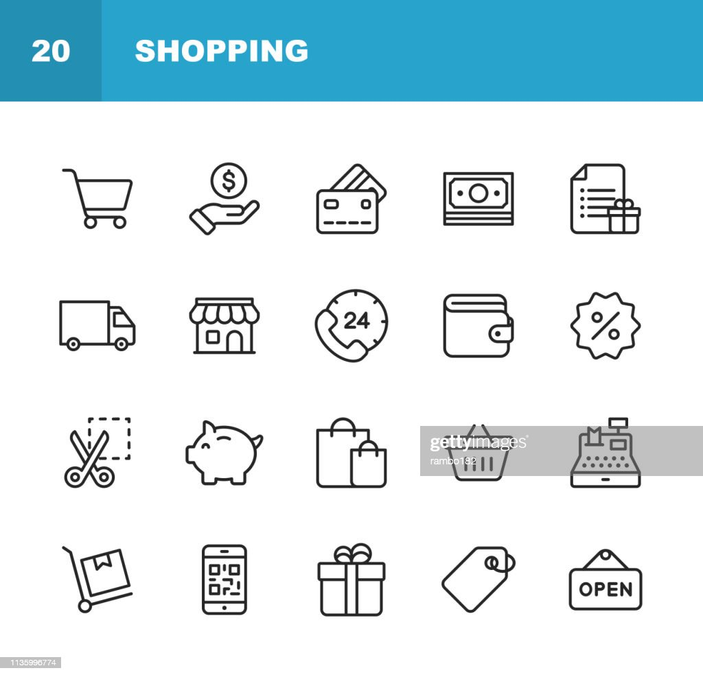 Shopping and E-commerce  Line Icons. Editable Stroke. Pixel Perfect. For Mobile and Web. Contains such icons as Shopping, E-commerce, Payment Method, Piggy Bank, Delivery. : stock illustration