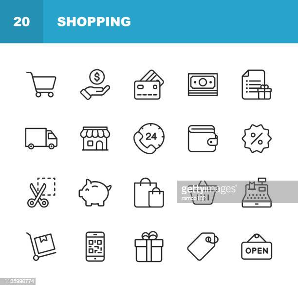 shopping and e-commerce  line icons. editable stroke. pixel perfect. for mobile and web. contains such icons as shopping, e-commerce, payment method, piggy bank, delivery. - consumerism stock illustrations