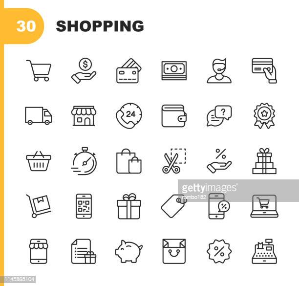 shopping and e-commerce  line icons. editable stroke. pixel perfect. for mobile and web. contains such icons as shopping, e-commerce, payment method, piggy bank, delivery. - shopping cart stock illustrations