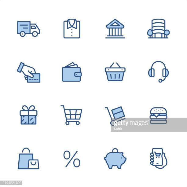 shopping and e-commerce - pixel perfect blue outline icons - shopping basket stock illustrations