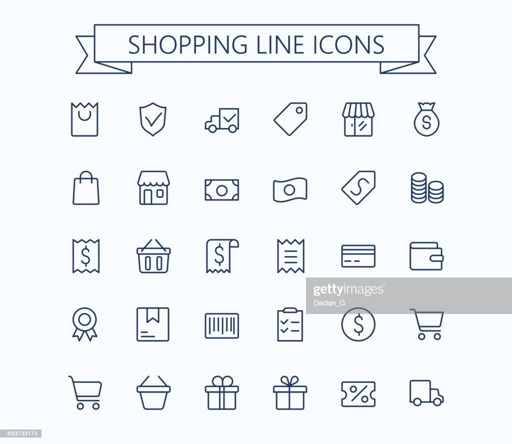 Shopping and E-commerce vector mini icons set. Thin line outline 24x24 Grid.Pixel Perfect