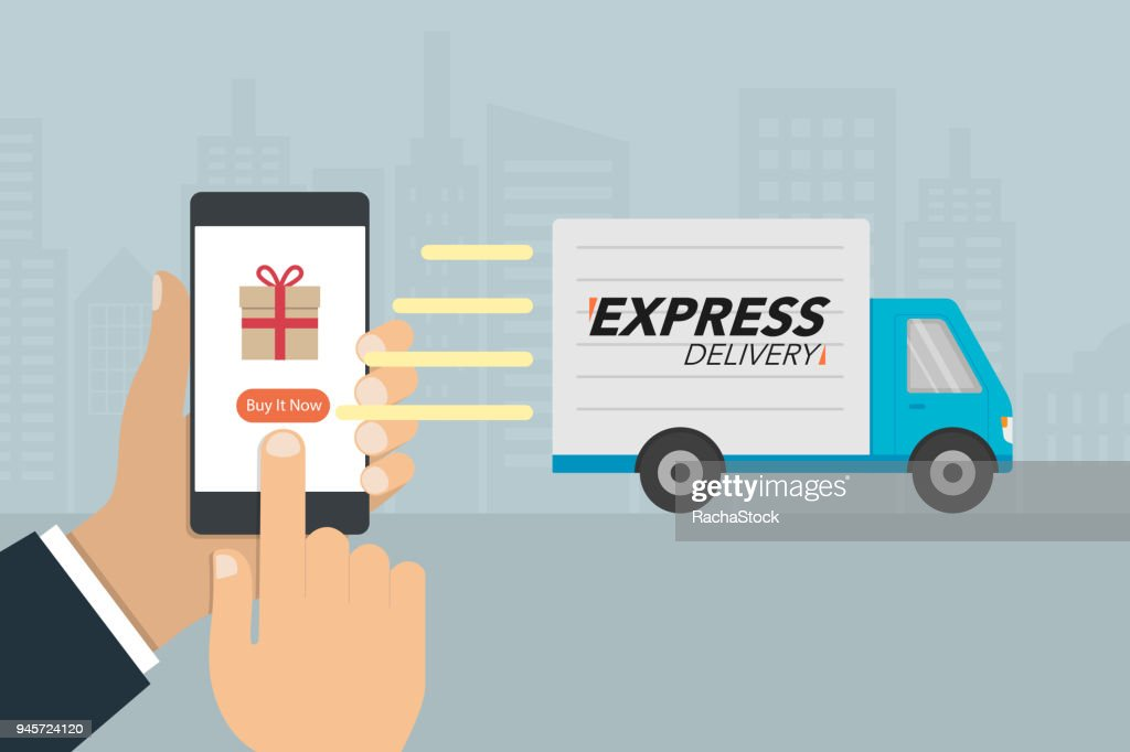"""Shopping and express delivery concept. Hand press button """"buy it now"""" on mobile phone and delivery truck sending to buyer."""