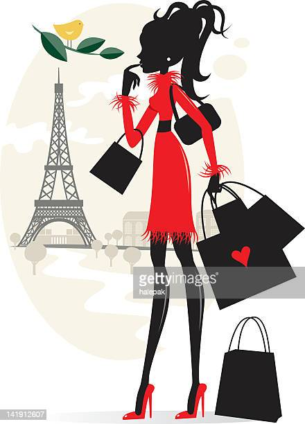 shopping and paris - nice france stock illustrations, clip art, cartoons, & icons