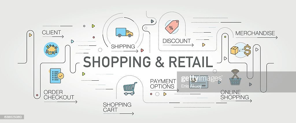 Shopping and Retail banner and icons : stock illustration