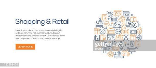 Plantilla de banner de compras y Retail con iconos de línea. Ilustración vectorial moderna para publicidad, cabecera, website.