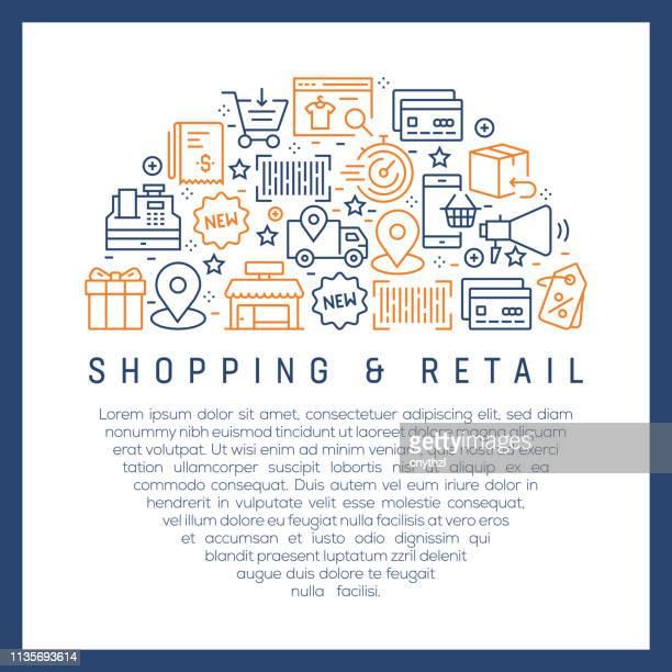 Compras y Retail Concept-coloridos iconos de línea, dispuestos en círculo