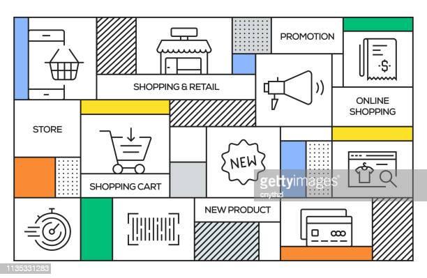 Concepto de compras y Retail. Banner de estilo retro geométrico y concepto de póster con los iconos de línea comercial y minorista