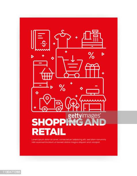 shopping and retail concept line style cover design for annual report, flyer, brochure. - shopping mall stock illustrations