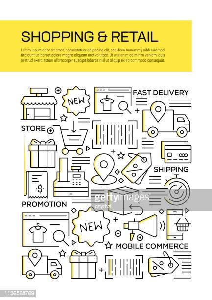 Diseño de la cubierta del estilo de la línea conceptual de compras y al por menor para el informe anual, aviador, folleto.