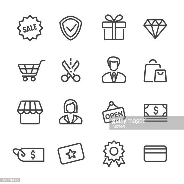 shopping and retail icon - line series - consumerism stock illustrations