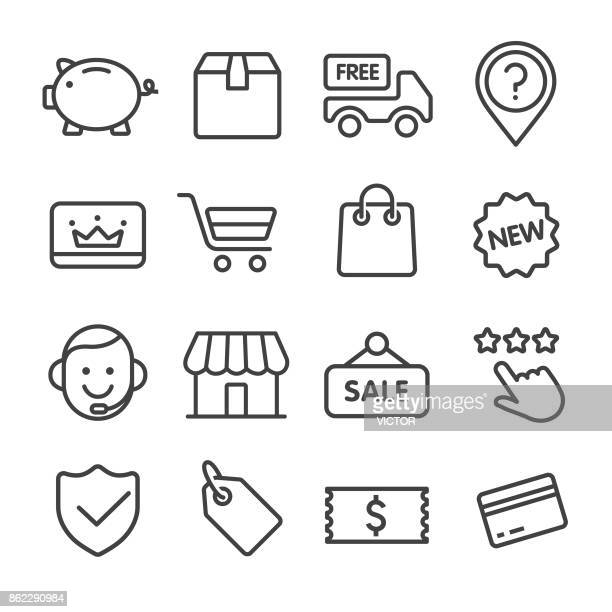 shopping and retail icons set - line series - luggage tag stock illustrations, clip art, cartoons, & icons