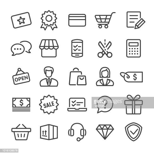 shopping and retail icons set - smart line series - open sign stock illustrations, clip art, cartoons, & icons