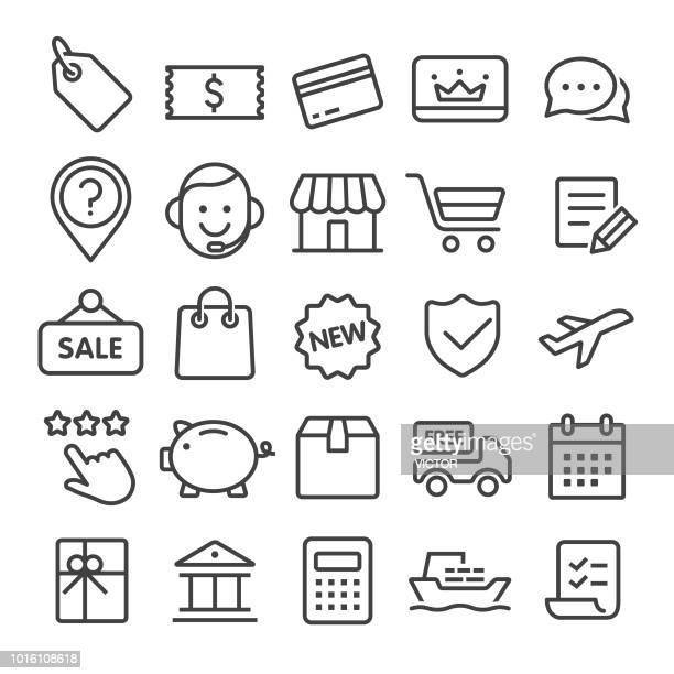 shopping and retail icons - smart line series - luggage tag stock illustrations, clip art, cartoons, & icons