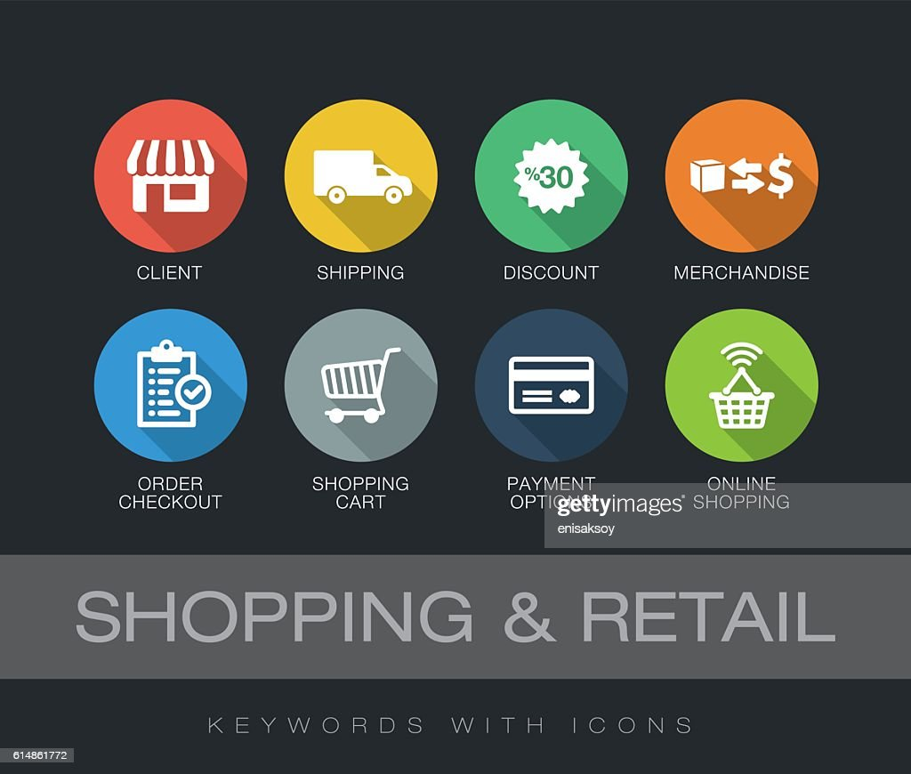 Shopping and Retail keywords with icons : Stock Illustration