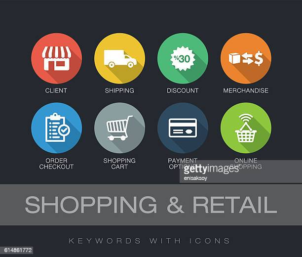 ilustraciones, imágenes clip art, dibujos animados e iconos de stock de shopping and retail keywords with icons - ir de compras