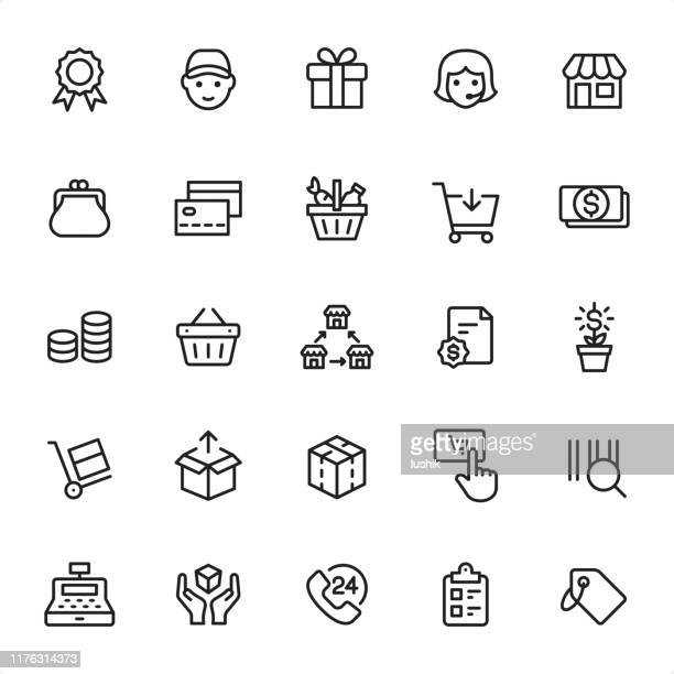 illustrazioni stock, clip art, cartoni animati e icone di tendenza di shopping and retail - outline icon set - mercanzia