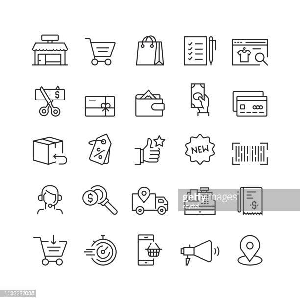 shopping and retail related vector line icons - consumerism stock illustrations