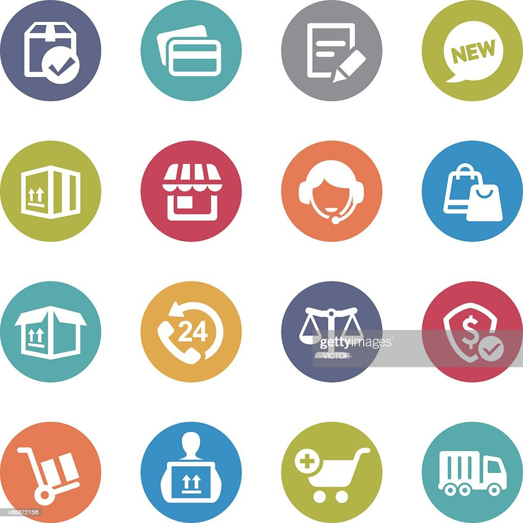 Shopping and Shipping Icons - Circle Series