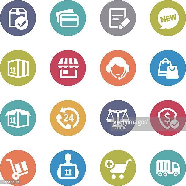 shopping and shipping icons - circle series - assistant stock illustrations, clip art, cartoons, & icons