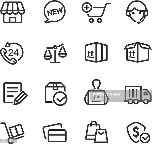 shopping and shipping icons - line series - hand truck stock illustrations, clip art, cartoons, & icons