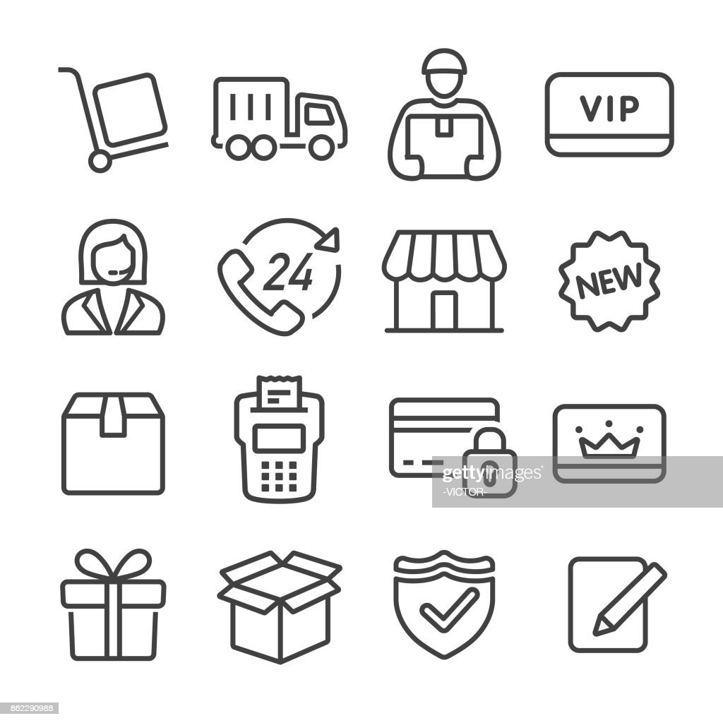 Shopping and Shipping Icons Set - Line Series : stock illustration