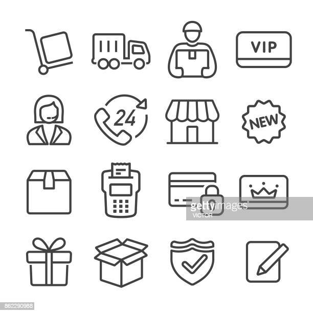 shopping and shipping icons set - line series - new stock illustrations
